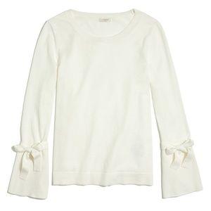 NWT J.Crew Tie Bell-Sleeve Sweater - Ivory   XXS